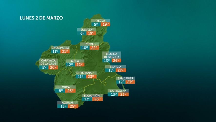 Vientos del oeste fuertes, con rachas muy fuertes en amplias zonas de la Región