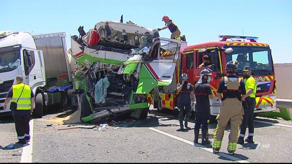 Cuatro heridos en un accidente con tres camiones en la A-30, a la altura de Cieza