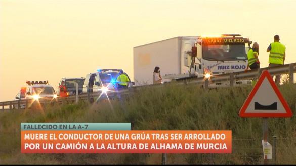 Fallece tras ser atropellado por un camión en la autovía A-7, en Alhama de Murcia