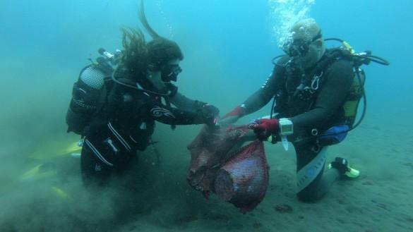 Retiran 200 kilos de basura marina en la playa de Bolnuevo de Mazarrón