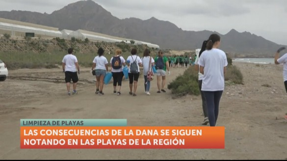 Más de 70 buzos y otros voluntarios limpian una playa en Mazarrón