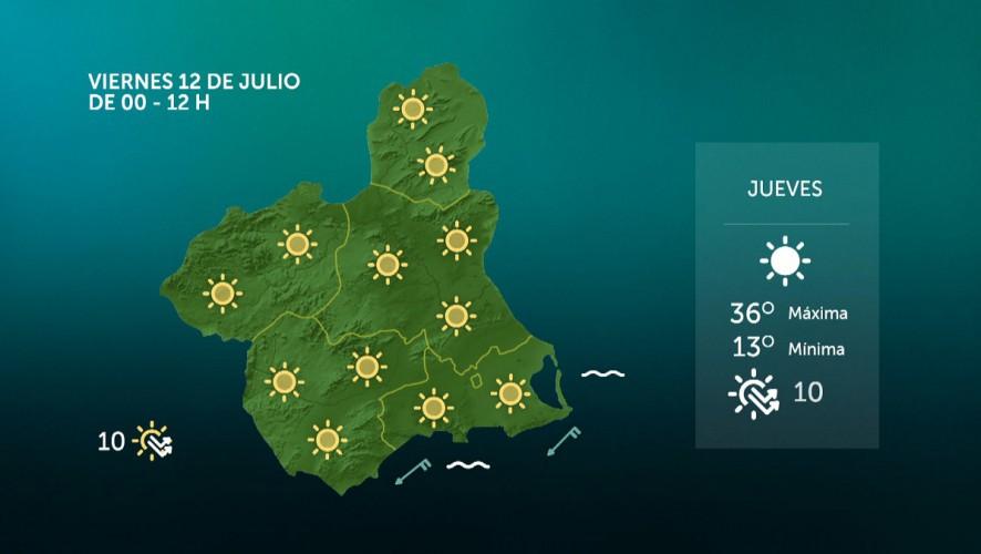 Temperaturas significativamente altas en amplias zonas del interior