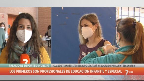 Comienza la vacunación de docentes en Lorca y Murcia con 2.718 personas citadas