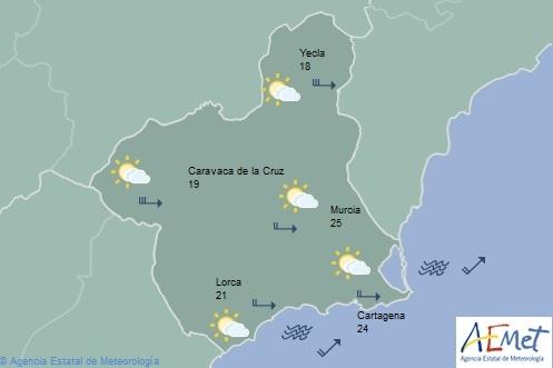 La AEMET amplía el aviso amarillo por vientos y fenómenos costeros en la Región este sábado y domingo