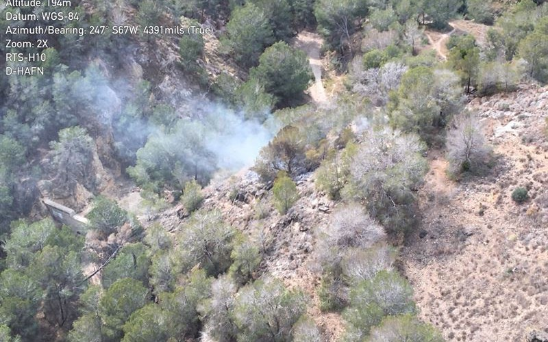 Arden 500 m2 de terreno forestal en un conato de incendio en Torreagüera